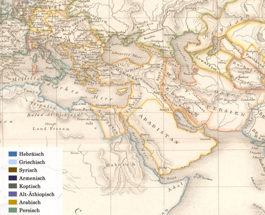 Interaktive Karte des Nahen Ostens sowie von Teilen Nordafrikas, Europas und Zentralasiens mit Verzeichnung der vorgestellten Handschriften