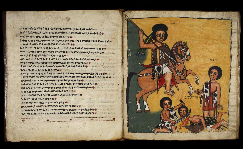 Doppelseite des Kodex, links Text, rechts eine Illustration, die Goliath und David zeigt
