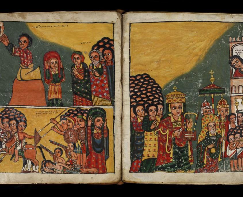 Doppelseite mit links oben Mose, der die Zionlade empfängt, links unten die Erbeutung der Lade durch die Philister; rechts David bei der Einholung der Lade nach Jerusalem