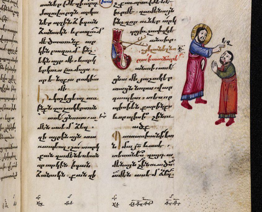 S. 279 der Handschrift mit zweispaltigem Text in armenischer Schrift und Randillustration
