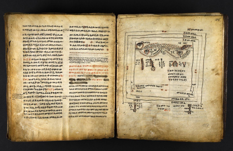Doppelseite des Bandes mit links zweispaltigem Text und rechts einer Zeichnung