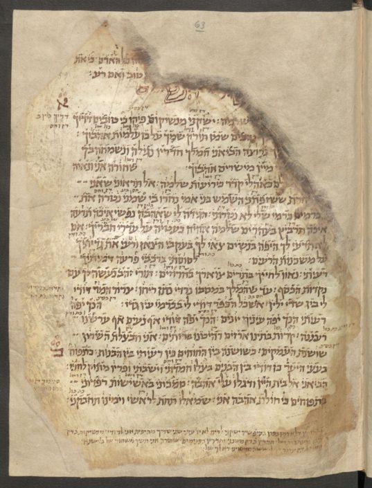 Folio 63r des Kodizes mit Text in hebräischer Schrift, versehen mit Randbemerkungen